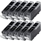 10 Canon PGI-520 Black Compatible Printer Ink Cartridge for Canon Pixma MP540 MP550 MP560 MP620 MP630 MP640 MP980 MP990 iP3600 iP4600 iP4700 MX860 MX870 - High Capacity, Fully Chipped, Ready For Use