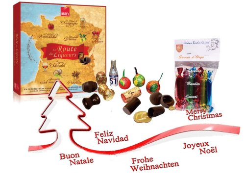 french map of france chocolate filled with french liquors 275 gr-la route des liqueurs 27 chocolats ABTEY + 1 bag of barley sugar Théodore Bardin-Cuinet