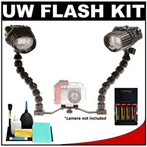 Intova ISS 4000 Dual Underwater Slave Flash with Flex Arms + Mounting Brackets + Batteries & Charger + Cleaning Kit