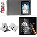 ECellStreet PU LEATHER 360° Rotating Flip Case Cover With Stand For Samsung Galaxy Tab 3 T210 + Free Tempered...