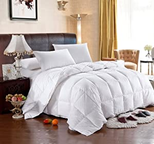 Royal Hotel's 300 Thread Count King Size Siberian Goose Down Comforter 100% Egyptian Cotton 300 TC - 600FP - 40Oz - Stripe White