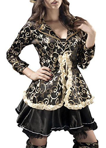 Romanse Women's Vintage Pirate Mini Dress 5 PCS Cosplay Halloween Party Costume