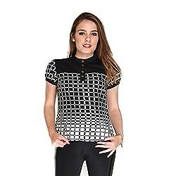 Hermosear White & Black Colored Checkered Top