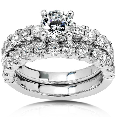 2-4/5ct TW Round Diamond Wedding Ring Set in 18Kt Gold (Size 6.0)