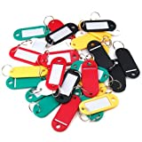 30 Coloured Plastic Key Fobs Luggage ID Tags Labels Key rings with Name Cards