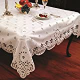 """Daisy Design With Cutwork Tablecloth White 70"""" by 120"""" Oblong / Rectangle"""