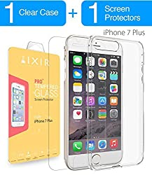 iPhone 7 Plus / iPhone 7 Pro Clear Case and Tempered Glass COMBO, IXIR iPhone 7 Plus / iPhone 7 Pro Case Cover + Tempered Glass [1-PACK] for iPhone 7 Plus / iPhone 7 Pro - Crystal View