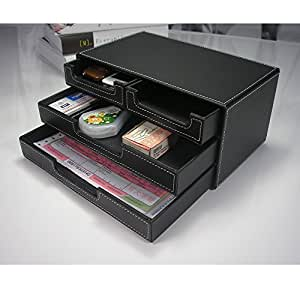 Kingfom 4 small drawer pu leather office - Black leather desk organizer ...