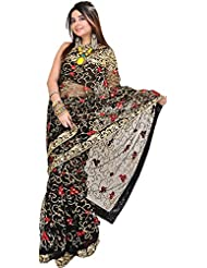 Exotic India Jet-Black Wedding Sari With Embroidered Sequins And Flowers - Black