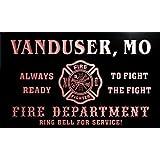 qy60132-r FIRE DEPT VANDUSER, MO MISSOURI Firefighter Neon Sign Barlicht Neonlicht Lichtwerbung