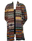 Colorful Nordic Print Long Cardigan Sweater Wrap - Multi Color Gray