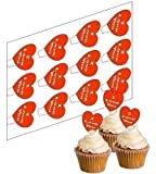 12 I Love You Cupcake Picks for Valentine's Day! - 'Stand Up' ricepaper cake decorations (uncut)