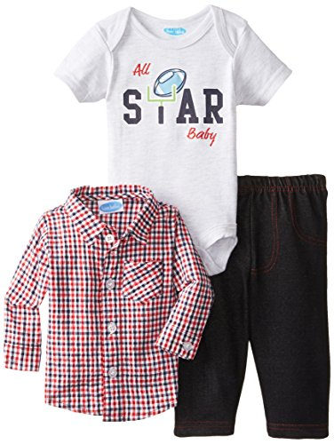 Bon Bebe Baby-Boys Newborn All Star Baby Bodysuit Woven Shirt And Pant Set, Multi, 0-3 Months front-1077395