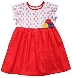 Campana Girls' Dress (CK1262_Red_18-24 Months)