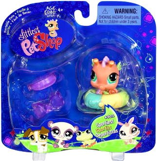 Littlest Pet Shop Assortment 'A' Series 1 Collectible Figure Pink Seahorse with Inner Tube, Visor, and Sunglasses - 1