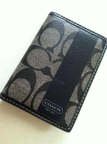 NWT Coach Mens CMD Pebble Leather Slim Passcase Id Wallet-black