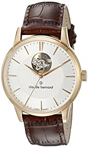 Claude Bernard Men's 85017 37R AIR Automatic Open Heart Analog Display Swiss Automatic Brown Watch