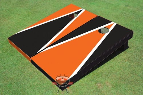 Orange And Black Alternating Triangle Corn Hole Boards Cornhole Game Set
