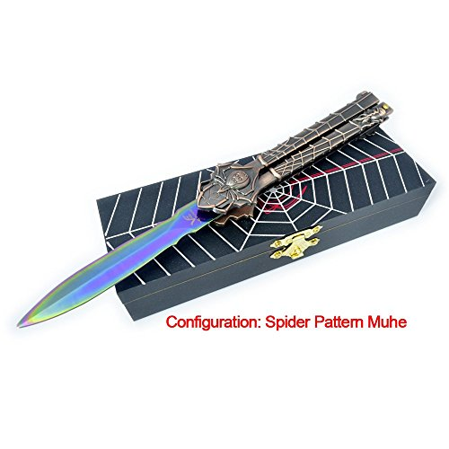 VE POWER Sports Special Edition Multicolored Spider Knife Handle Practice Tricks Trainer Knife (no offensive blade)