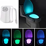 KINGSO LED Toilet Night Light Motion Activated Seat Sensor Bathroom Lamp,Toilet Bowl Light, Motion Sensing Night Light 8 Colors