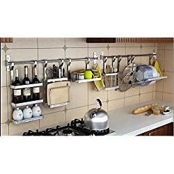 Kitchen Cookware Organizer Stainless Steel with Pot rack Lid Holder Spice Rack Wine Rack Knife Block Chopping Board Holder Flatware Utensils Caddy Dish Drying Rack 6 Utility Hooks Wall Mounted