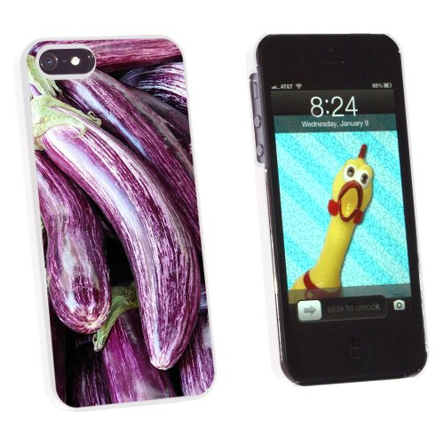 Purple Eggplant - Egg Plant Nightshade Aubergine - Snap On Hard Protective Case for Apple iPhone 5 5S - White
