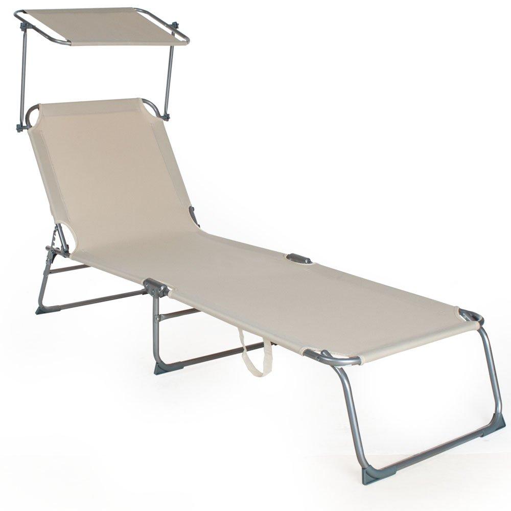 TecTake® Gartenliege Sonnenliege Strandliege Freizeitliege mit Sonnendach 190cm beige jetzt kaufen