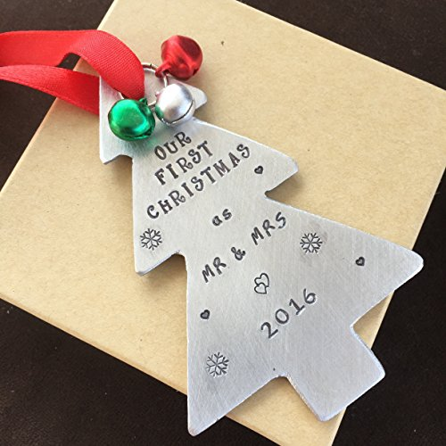 Our First Christmas Ornament Tree Shaped Christmas Tree Decoration Christmas Gift Newlywed Gift Our 1st Christmas As Mr and Mrs