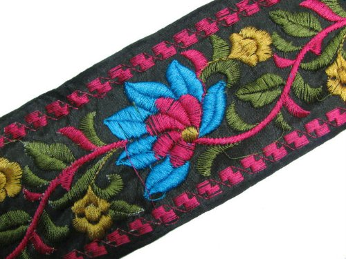 Floral Lace Multicolor Thread Embroidered Wide Ribbon Trim 3 Yards Craft Sewing India