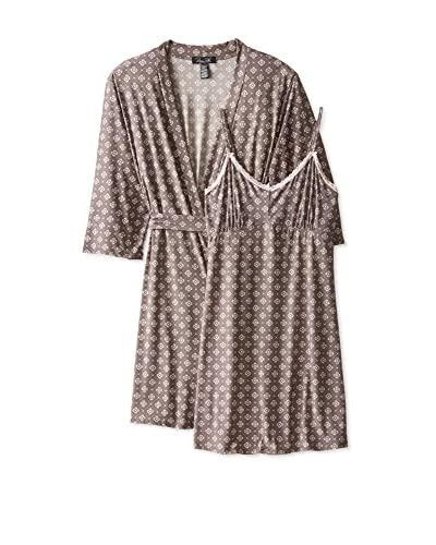 René Rofé Sleepwear Women's Lace Me up Robe and Chemise Set