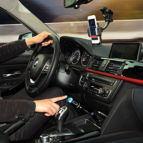 Mpow® Streambot Y Wireless Bluetooth FM Transmitter Radio Adapter Handsfree Car Kit with Hands-Free Calling, Music Control, and Charging Port for iPhone 5S 5 5C 4S 4 iPod, Android cell phone, MP3 Players and other devices