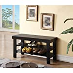 Black Finish Solid Wood Storage Shoe Bench Shelf by eHomeProducts