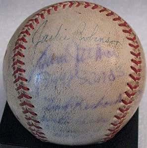 Signed Jackie Robinson Baseball - 1950 Negro League 9 Sigs B31032 - PSA/DNA Certified - Autographed Baseballs