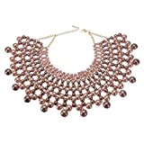 Bib Collar Necklace Chunky CCB Resin Beads Chain Choker Statement Necklace Womens Fashion Jewelry Necklace (Pink 2) (Color: Pink 2)