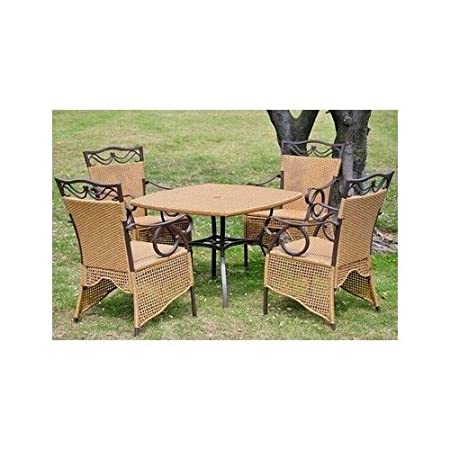 Valencia 5-Piece Wicker Dining Set in Honey