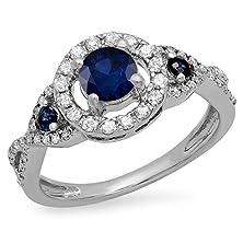 buy 10K White Gold Round Blue Sapphire & White Diamond 3 Stone Swirl Halo Bridal Engagement Ring (Size 6)