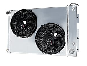 "4 Row All Aluminum Replacement Radiator PLUS 2-10""Inch Reversible Dual Fans and All Aluminum Shroud for 1967-1969 Chevy Camaro-5.7 V8, 1967-1969 Pontiac Firebird / Trans Am- 5.2/5.7 V8- Manufactured by Champion Cooling Systems, Part Number: MC370FS"