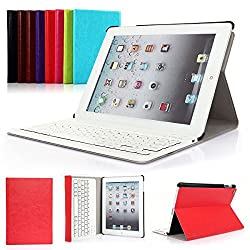 Symbollife iPad 2/3/4 Keyboard Case Apple Bluetooth Ipad Keyboard Ultra Slim Pu Leather Folio Smart Case Stand Cover + Removable Wireless Bluetooth Keyboard with Retina Display Red