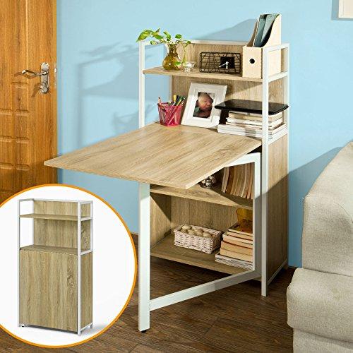 SoBuy-Wandschrank-Wandklapptisch-Standregal-Bcherschrank-mit-klappbarem-Schreibtisch-Computertisch-FWT12-N
