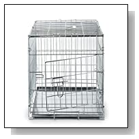 SmithBuilt - Folding Silver Dog Crate w/ Divider & Metal Tray Pan - Double Door - 24