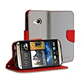 GMYLE(R) Wallet Case Classic for HTC One mini 2 (M8 mini) - Silver Grey & Red Cross Pattern PU Leather Slim Wallet Case Flip Stand Cover