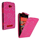 STYLEYOURMOBILE {TM} HTC 8X WINDOWS 8X PINK CRYSTAL DIAMOND BLING PU LEATHER MAGNETIC FLIP CASE COVER POUCH + TOUCH PEN