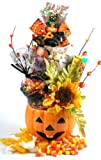 Ceramic Pumpkin Centerpiece | Halloween Gift Planter with Gourmet Snacks
