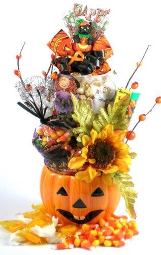 Ceramic Pumpkin Centerpiece   Halloween Gift Planter with Gourmet Snacks