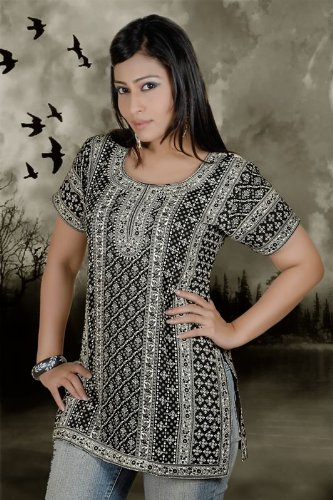 Black and white combination ladies / womens short sleeve kurta / tops / tunics / dresses - cotton fabric