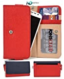 Smartphone Wristlet and Wallet [ Red and Navy Blue ] - Fits Blu Studio 5.0 S D560 D570 / Universal Case designed By Kroo + Complimentary NextDia ™ Velcro Cable Strap Included