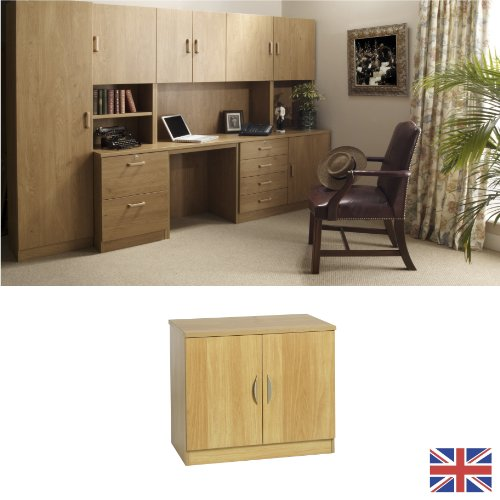 Home Office Furniture - Fully Assembled - Cupboard - English Oak - Wood Handles - Adjustable Shelf - Wood Effect... FOR USE IN: study bedroom lounge conservatory WE ALSO MAKE: cupboard plan chest hideaway desk draw drawers table free standing computer uni