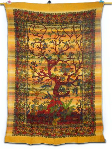 "Tree Of Life Tapestry Orange Table Cloth Wall Art Twin Size Bed Sheet 87"" X 58"" Gift Art India front-966465"