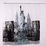 Vakind® Polyester Fabric New York Statue of Liberty Pattern Waterproof Shower Curtain With 12 Hooks