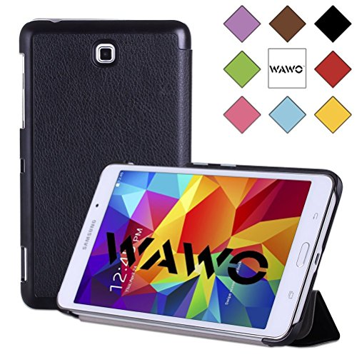 Wawo Creative Tri-Fold Cover Case For Samsung Galaxy Tab 4 7.0 Inch Tablet - Black front-934562